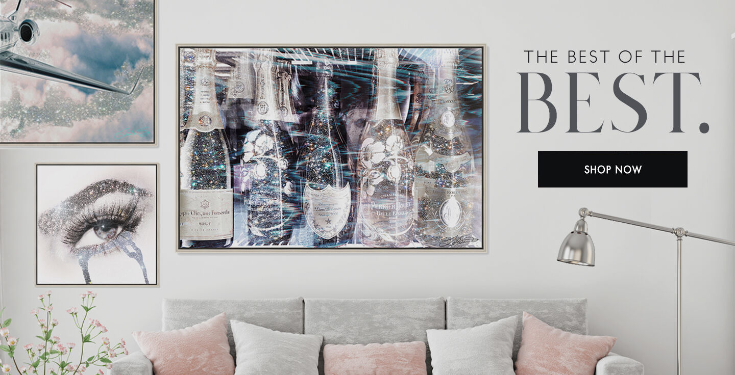 Oliver Gal best sellers banner highlighting eyes and rhinestones, taking the jet up,  and champagne drunk in love.