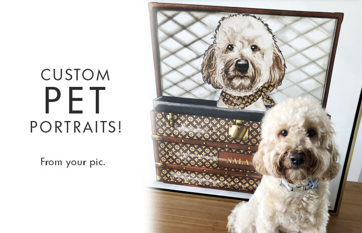 Oliver Gal Custom Pet Portraits banner highlighting custom framed dog panting on canvas.