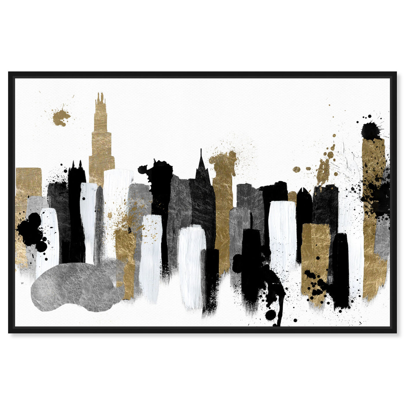 Front view of Glamorous Chicago featuring abstract and paint art.