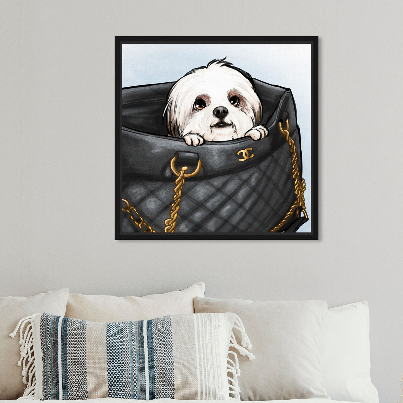 Hanging view of Peek a Boo Shih Tzu featuring fashion and glam and handbags art.