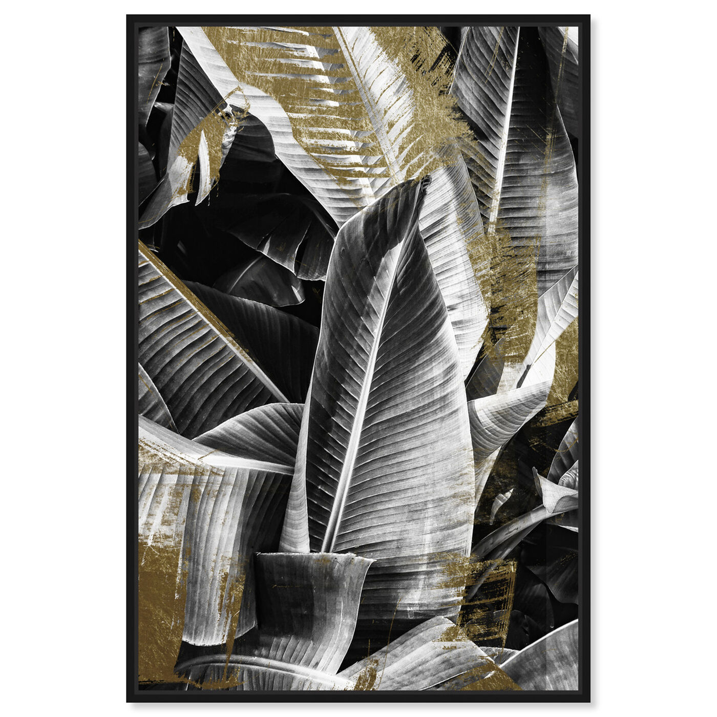 Front view of Banana Leaf Night Gold featuring floral and botanical and botanicals art.