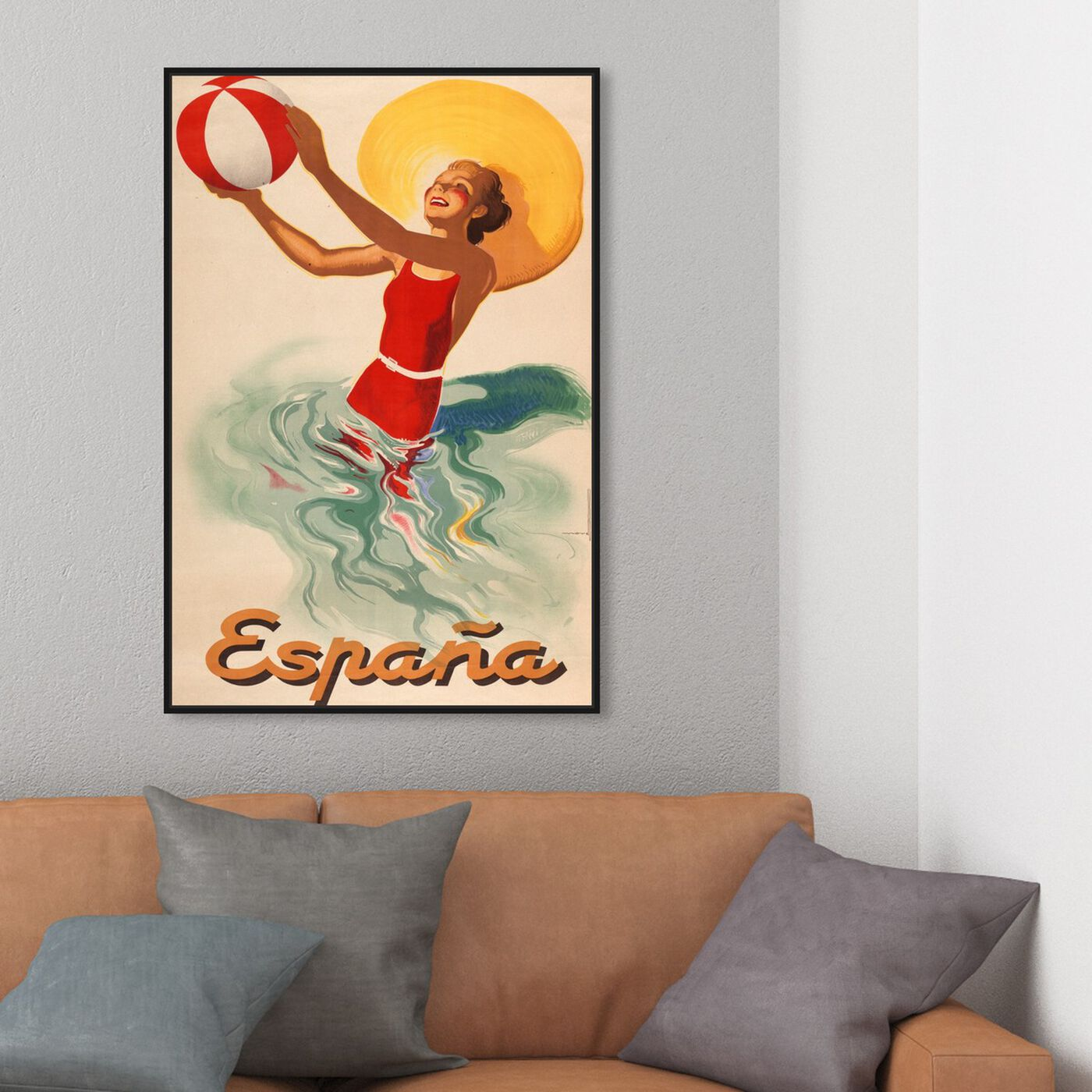 Hanging view of Espana Playa 1920s featuring advertising and posters art.