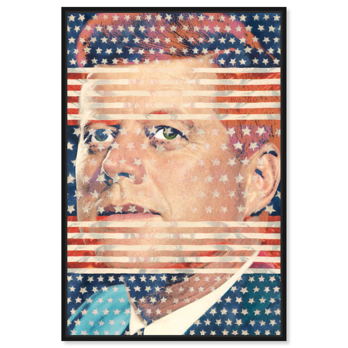 Front view of JFK featuring americana and patriotic and us presidents art.