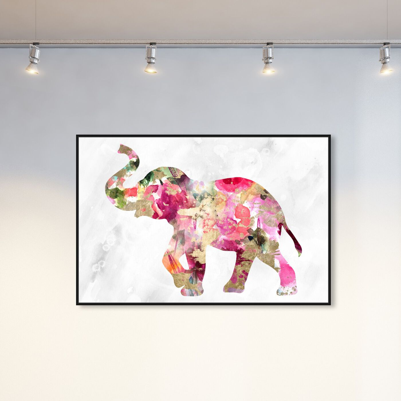 Hanging view of Elephant Floral featuring animals and zoo and wild animals art.