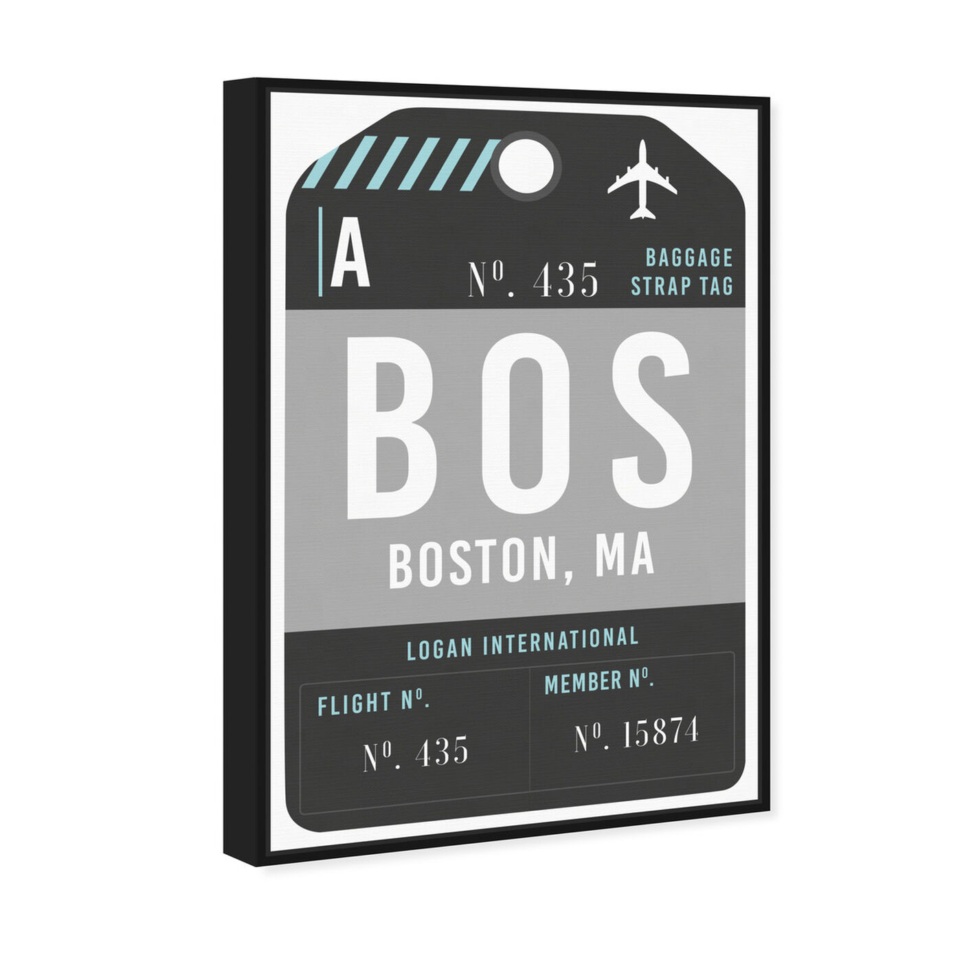 Angled view of Boston Luggage Tag featuring cities and skylines and united states cities art.