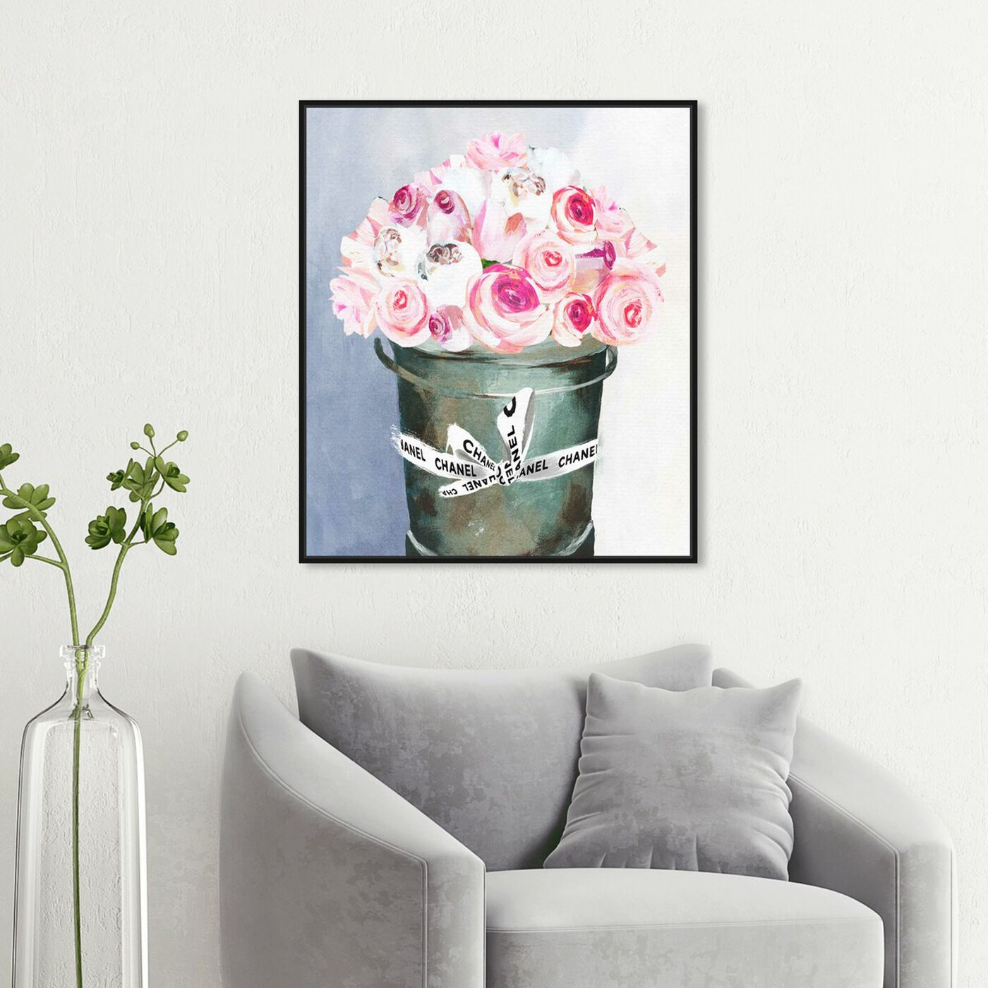 Hanging view of Bucket Full of Scent featuring floral and botanical and florals art.
