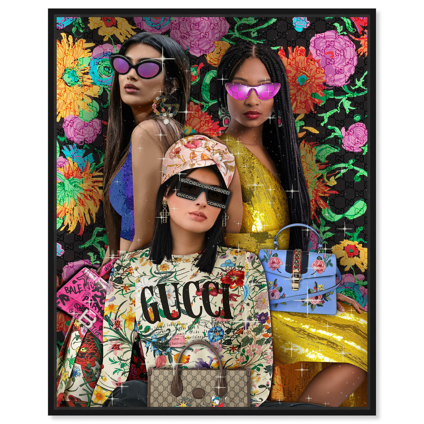Front view of Squad Goals featuring fashion and glam and portraits art.