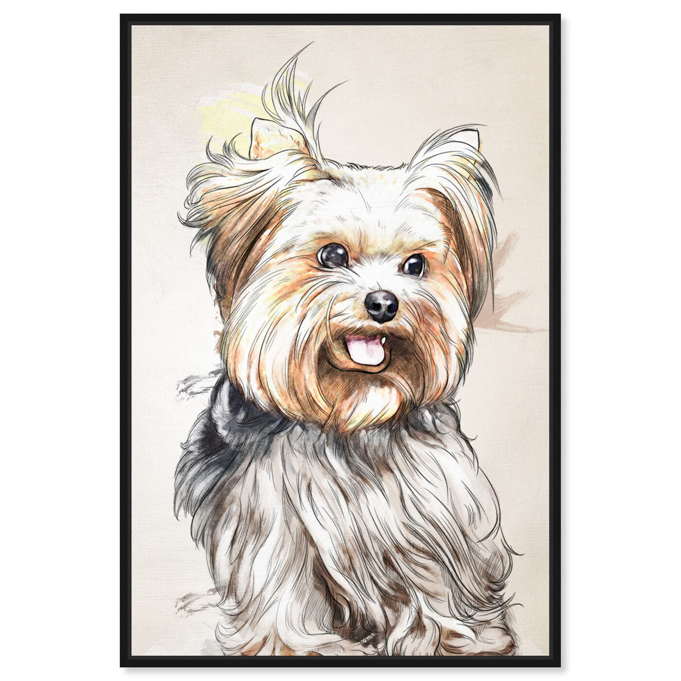 Front view of Yorkie Watercolor featuring animals and dogs and puppies art.