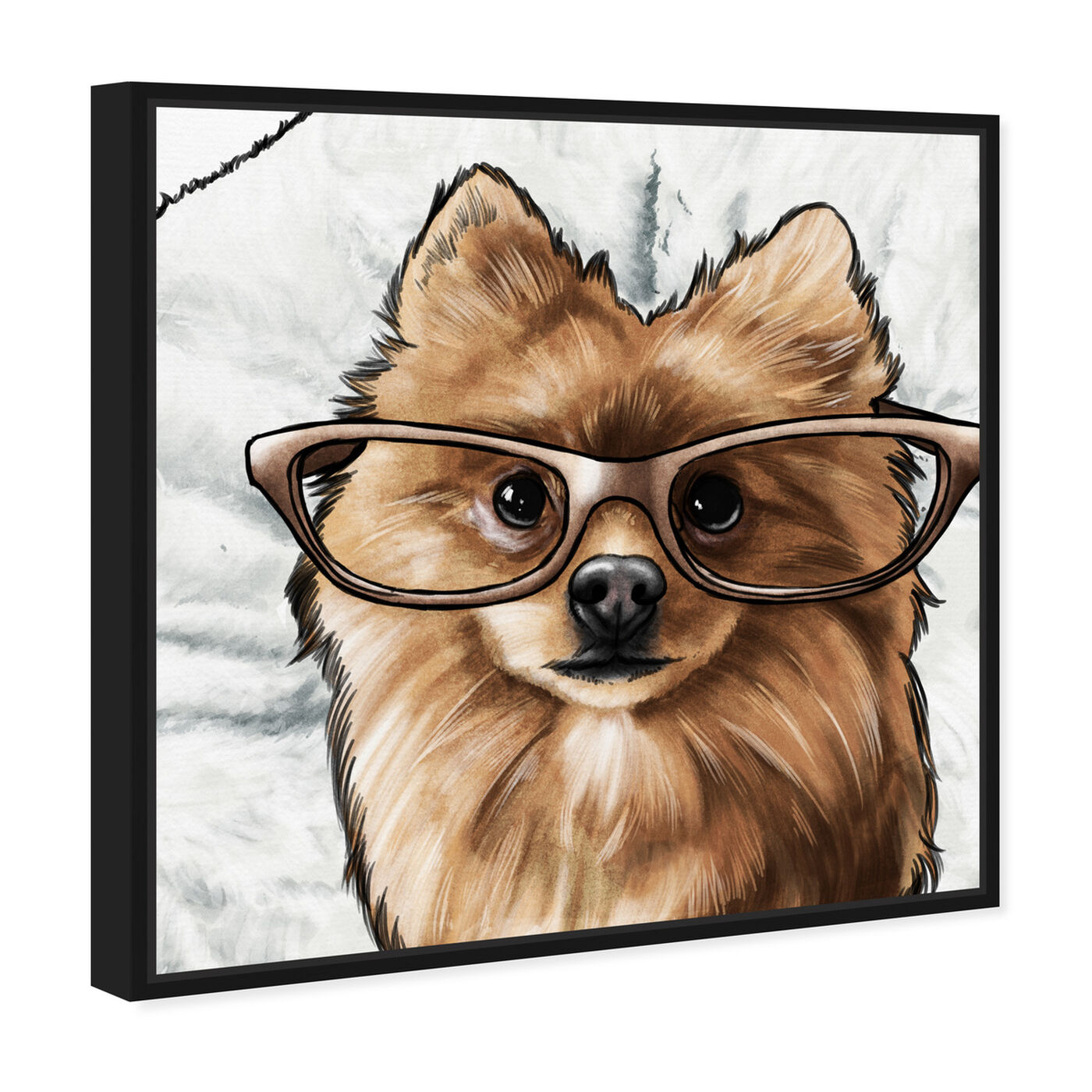 Angled view of Glasses and Fluff II featuring animals and dogs and puppies art.