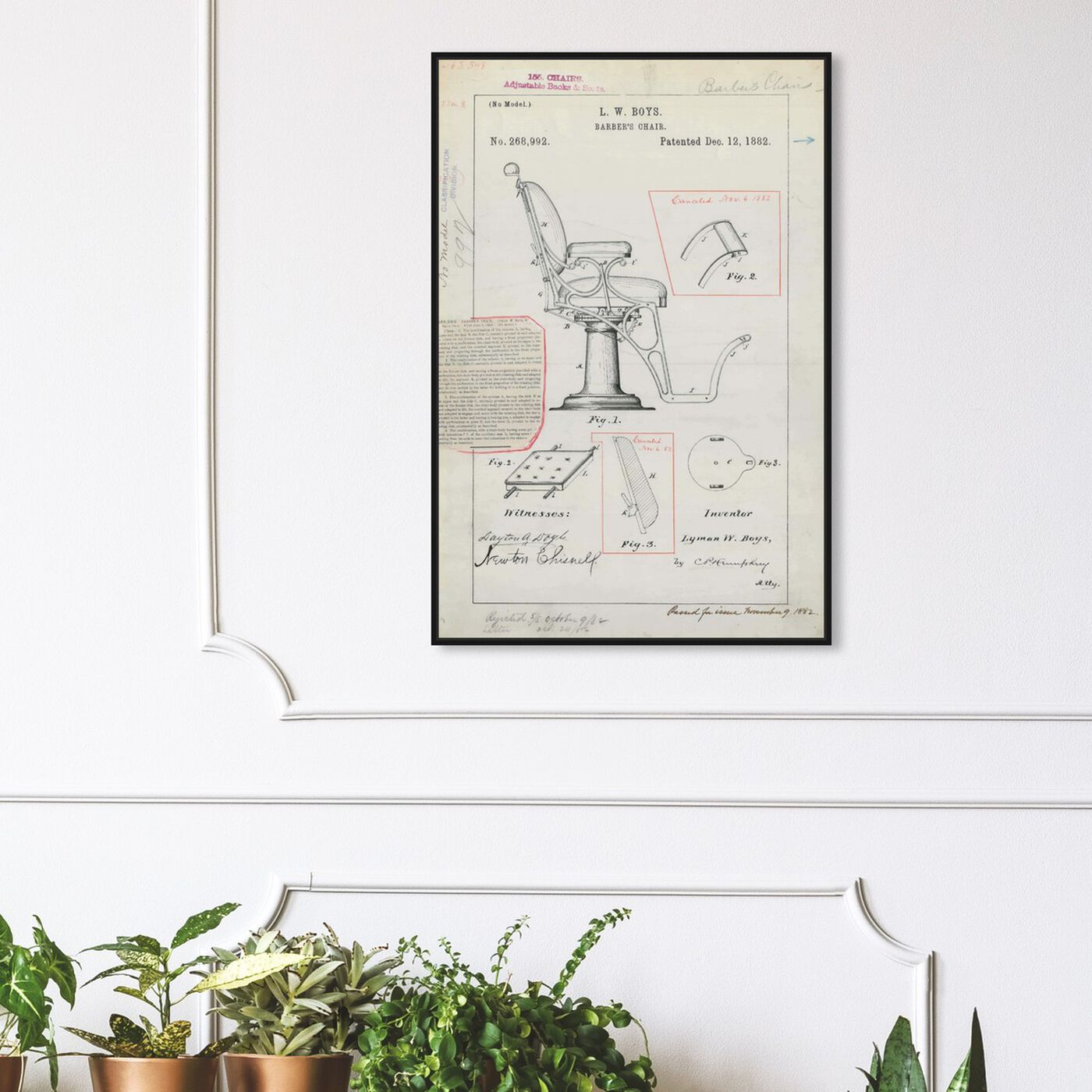 Hanging view of Barber Chair Patent 1882 featuring bath and laundry and barber art.