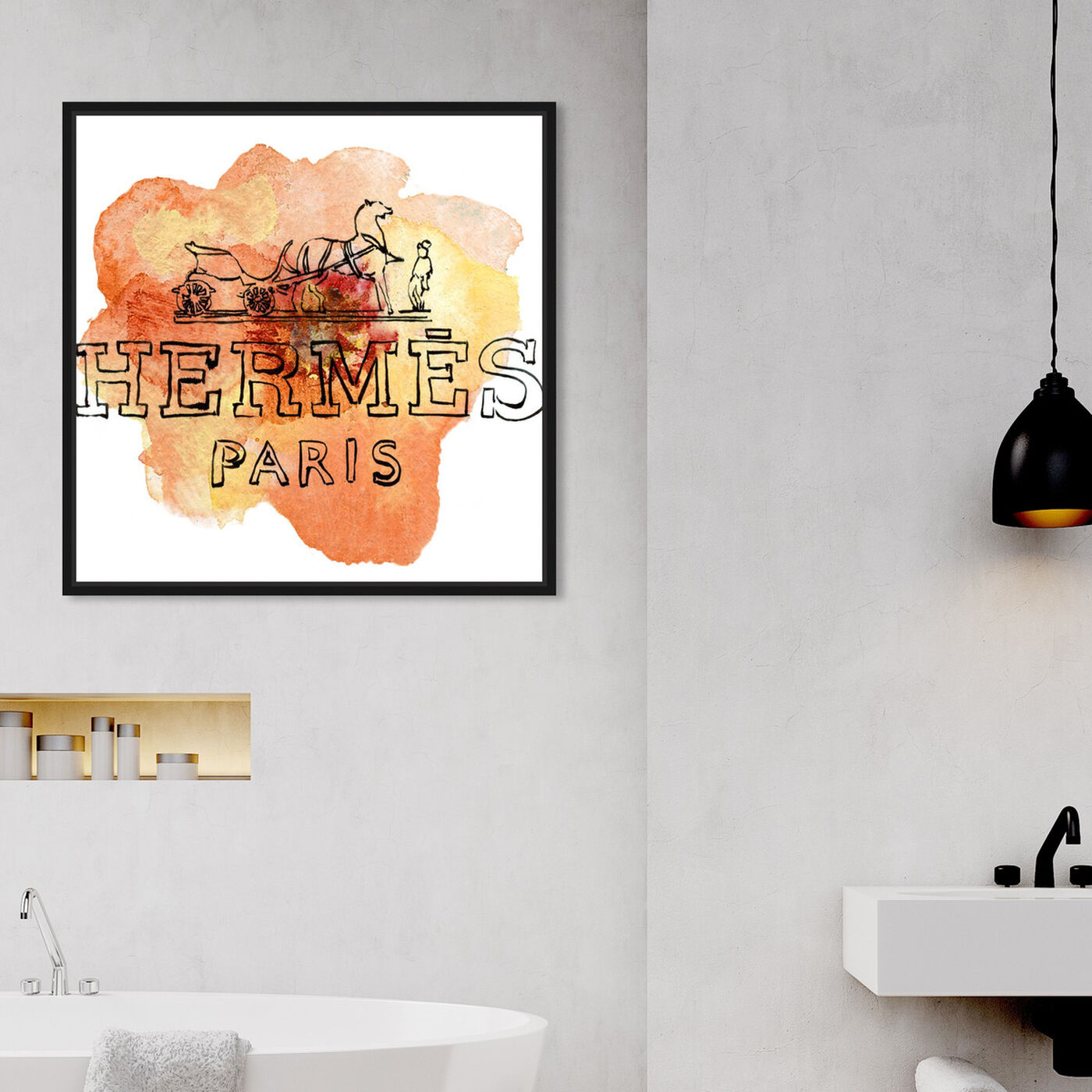Hanging view of Orange Paris featuring fashion and glam and lifestyle art.