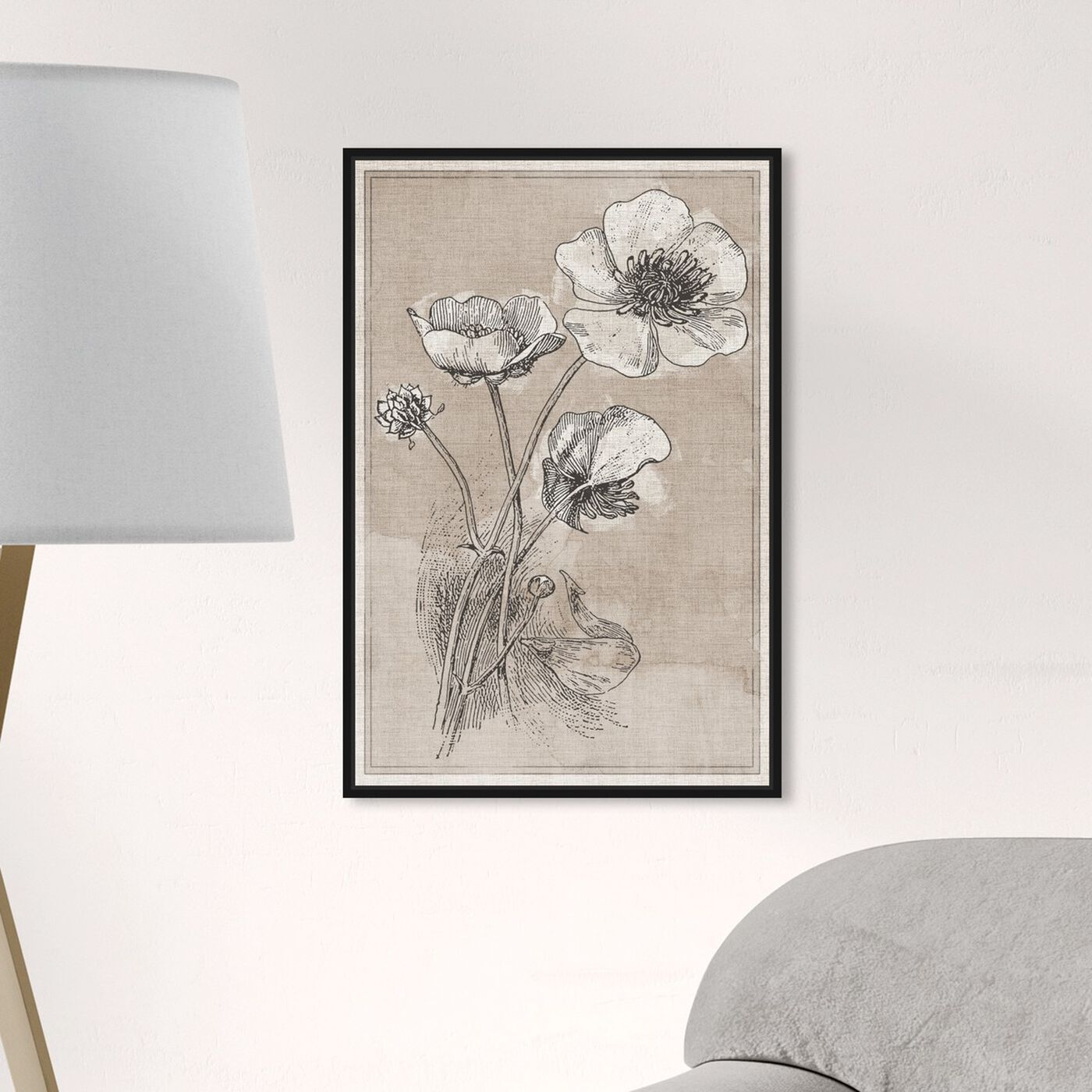 Hanging view of Poppies on Linen featuring floral and botanical and florals art.