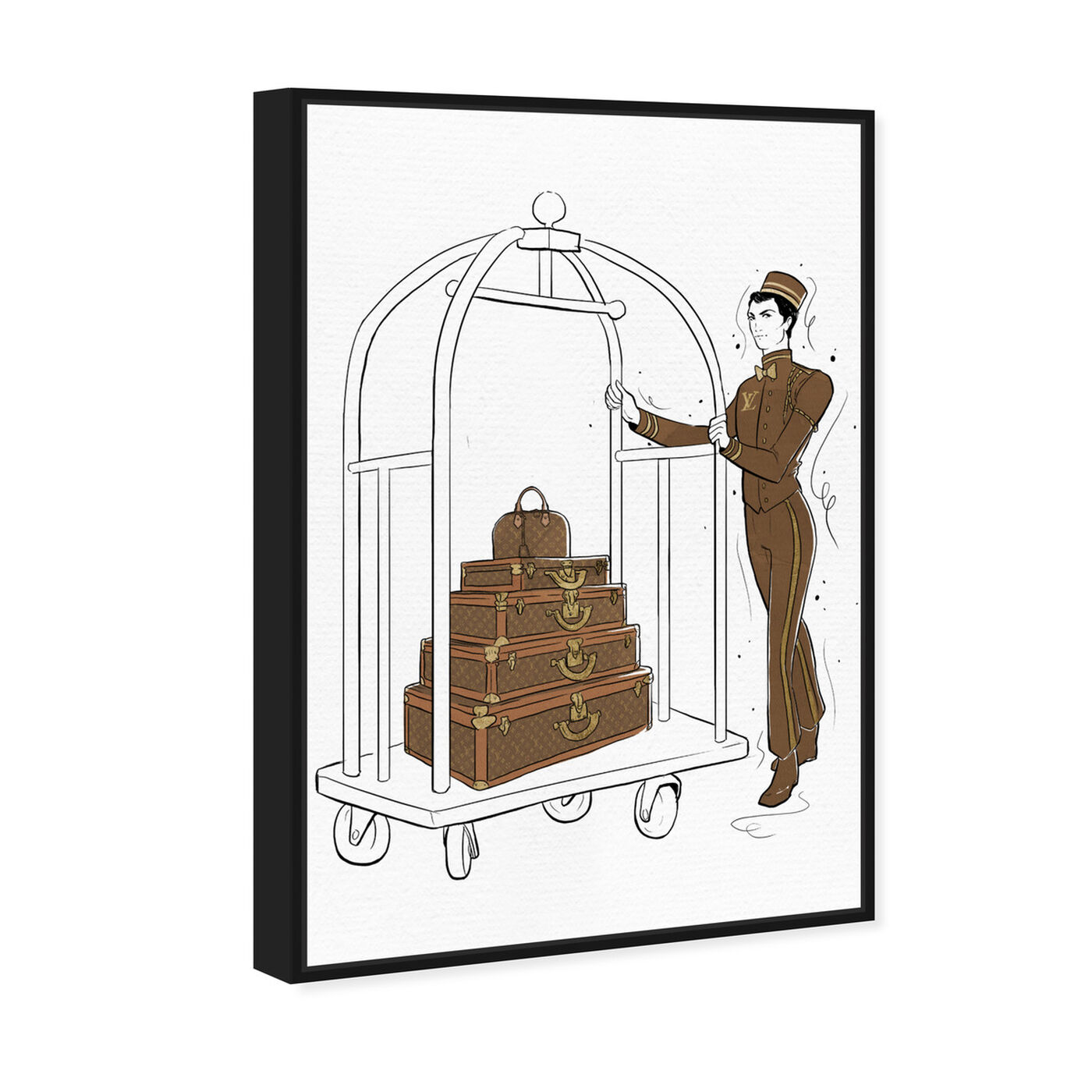 Angled view of Luggage Lobby Boy featuring fashion and glam and travel essentials art.