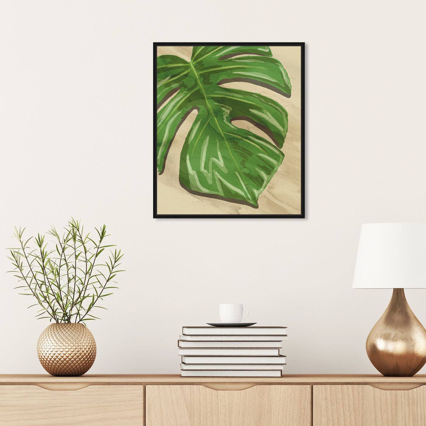 Hanging view of Neutral Leaves I featuring floral and botanical and botanicals art.