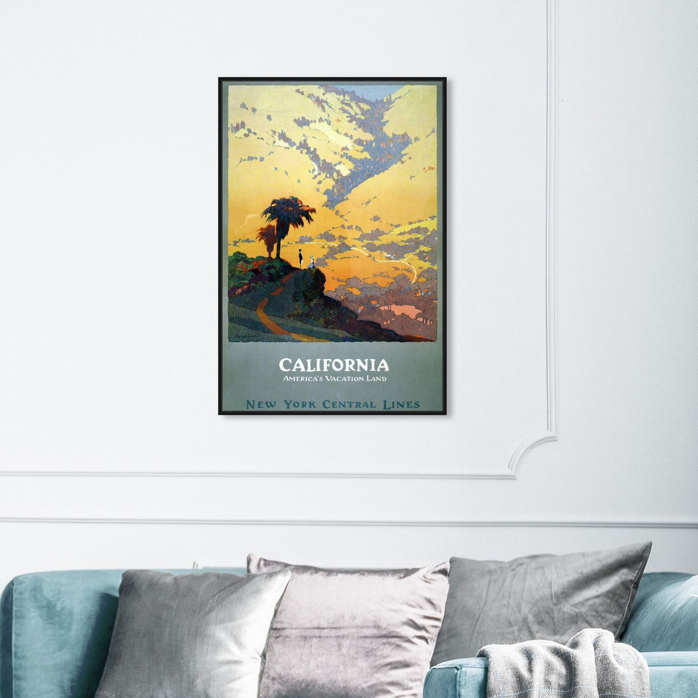 Hanging view of California Vacation Land featuring world and countries and north american cultures art.