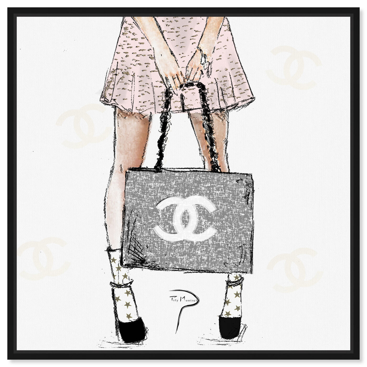 Front view of Pily Montiel - Tweed Girl Rose featuring fashion and glam and handbags art.