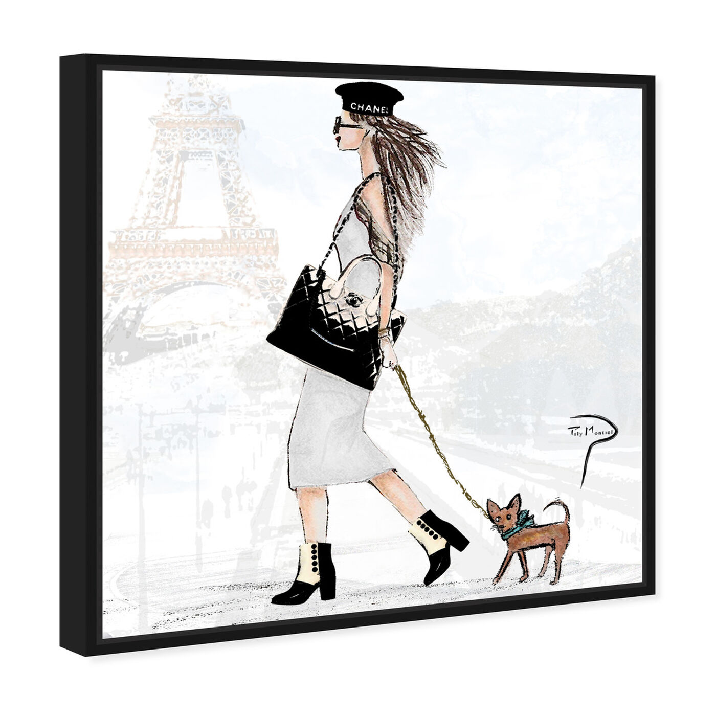 Angled view of Pily Montiel - National puppy day featuring fashion and glam and outfits art.