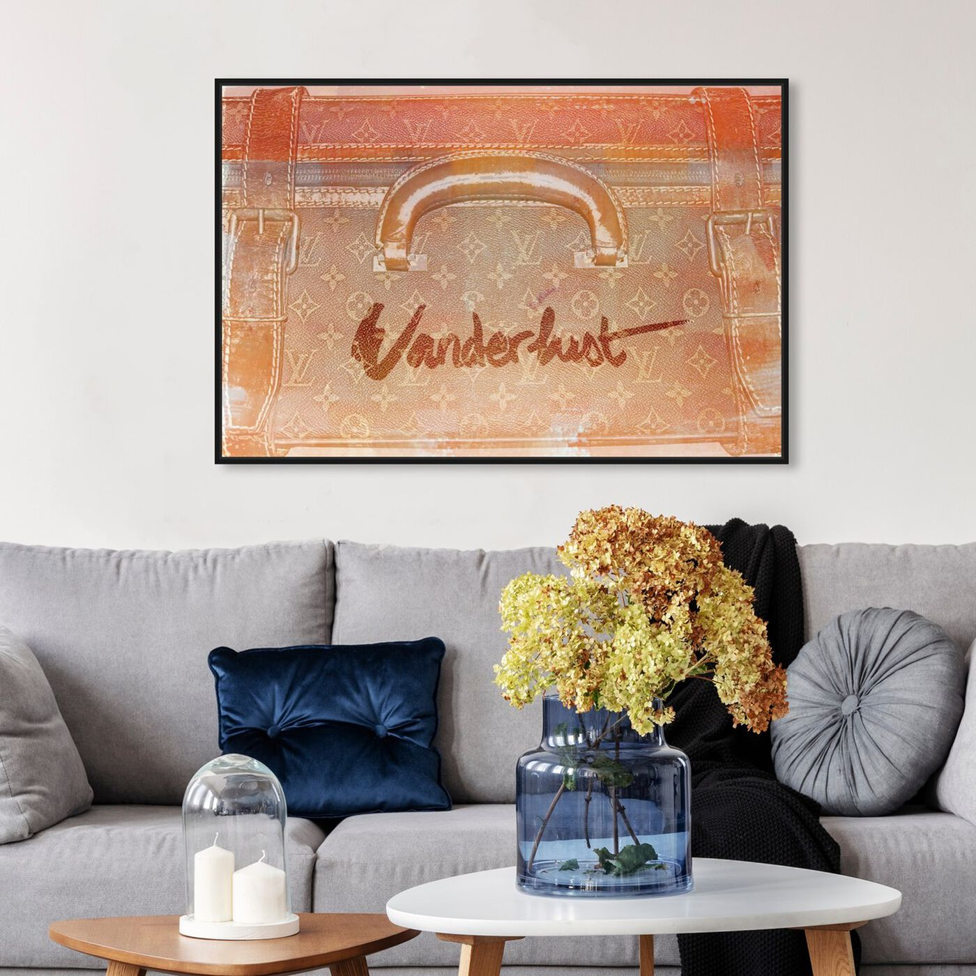 Hanging view of Love to Travel featuring fashion and glam and travel essentials art.