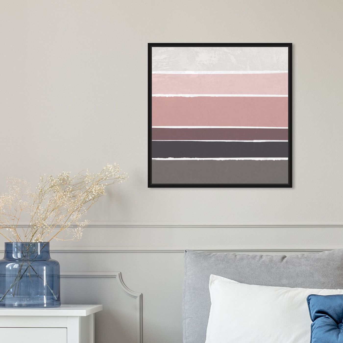 Hanging view of Dusty Rose featuring abstract and geometric art.