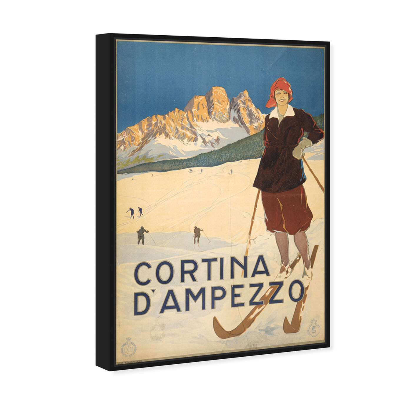 Angled view of Cortina D'Ampezzo featuring sports and teams and skiing art.