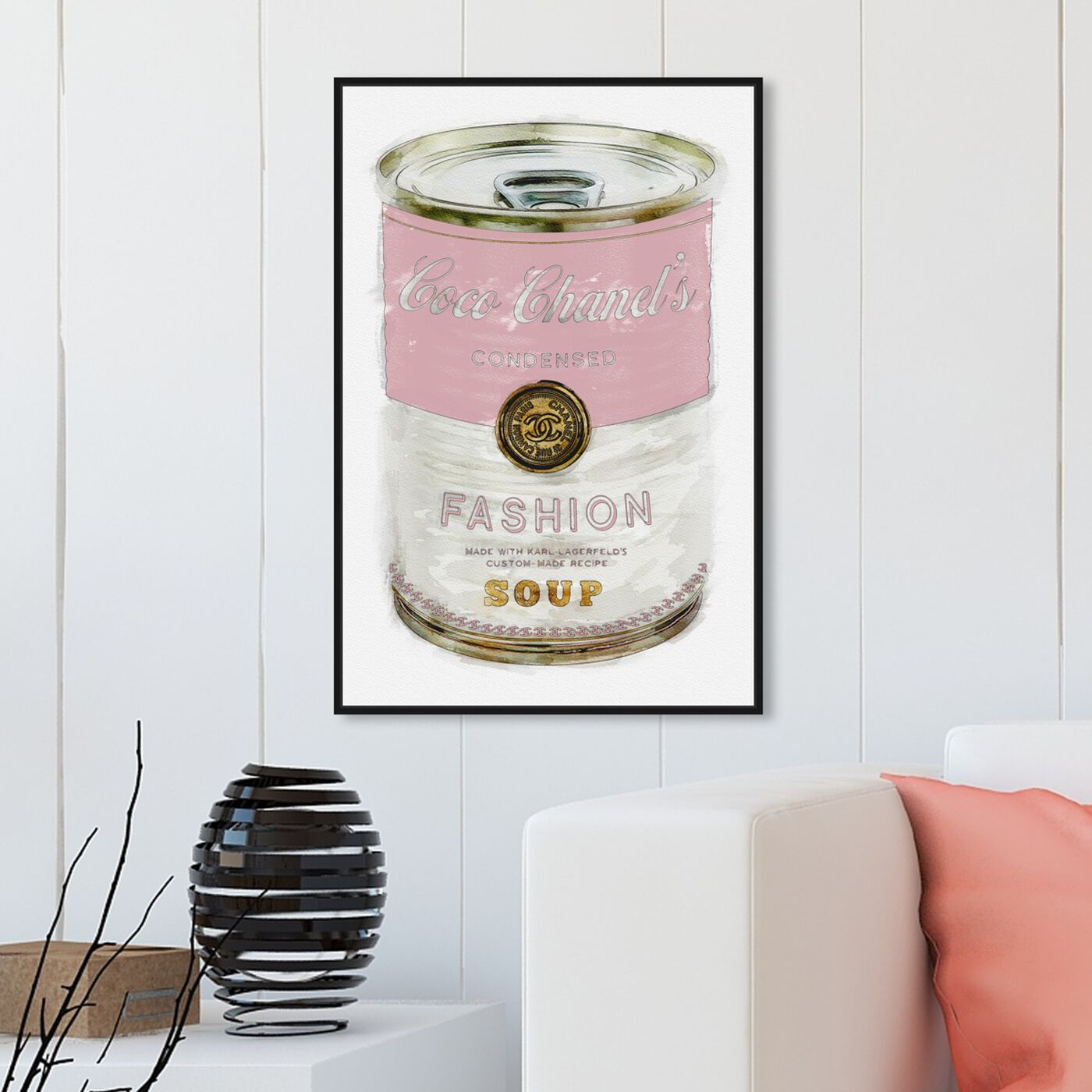 Hanging view of Fashion Soup Pink featuring fashion and glam and soup can art.
