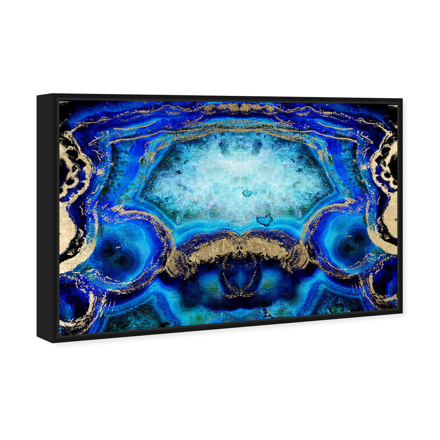 Angled view of Geode Bleu featuring abstract and crystals art.