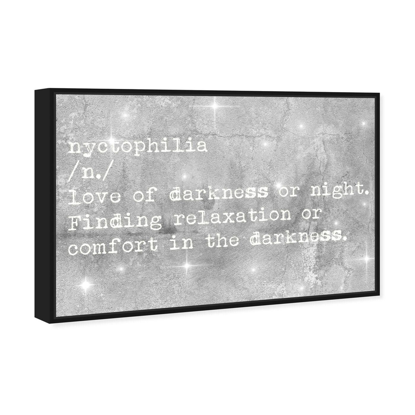 Angled view of Nychtophilia featuring typography and quotes and quotes and sayings art.