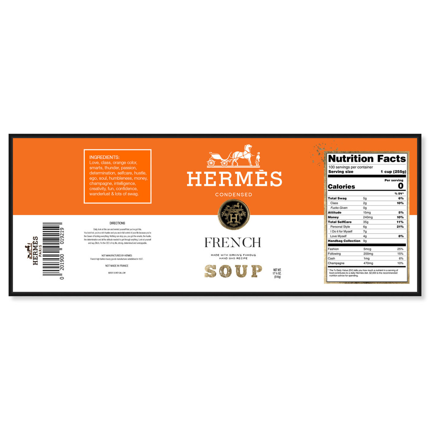 Front view of French Soup Label featuring fashion and glam and lifestyle art.