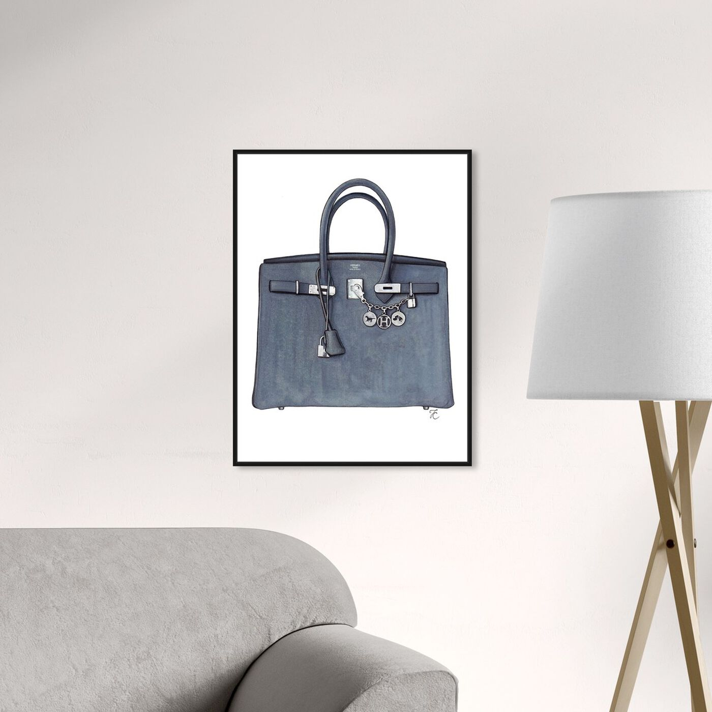 Hanging view of Doll Memories - Grey Memories Bag featuring fashion and glam and handbags art.