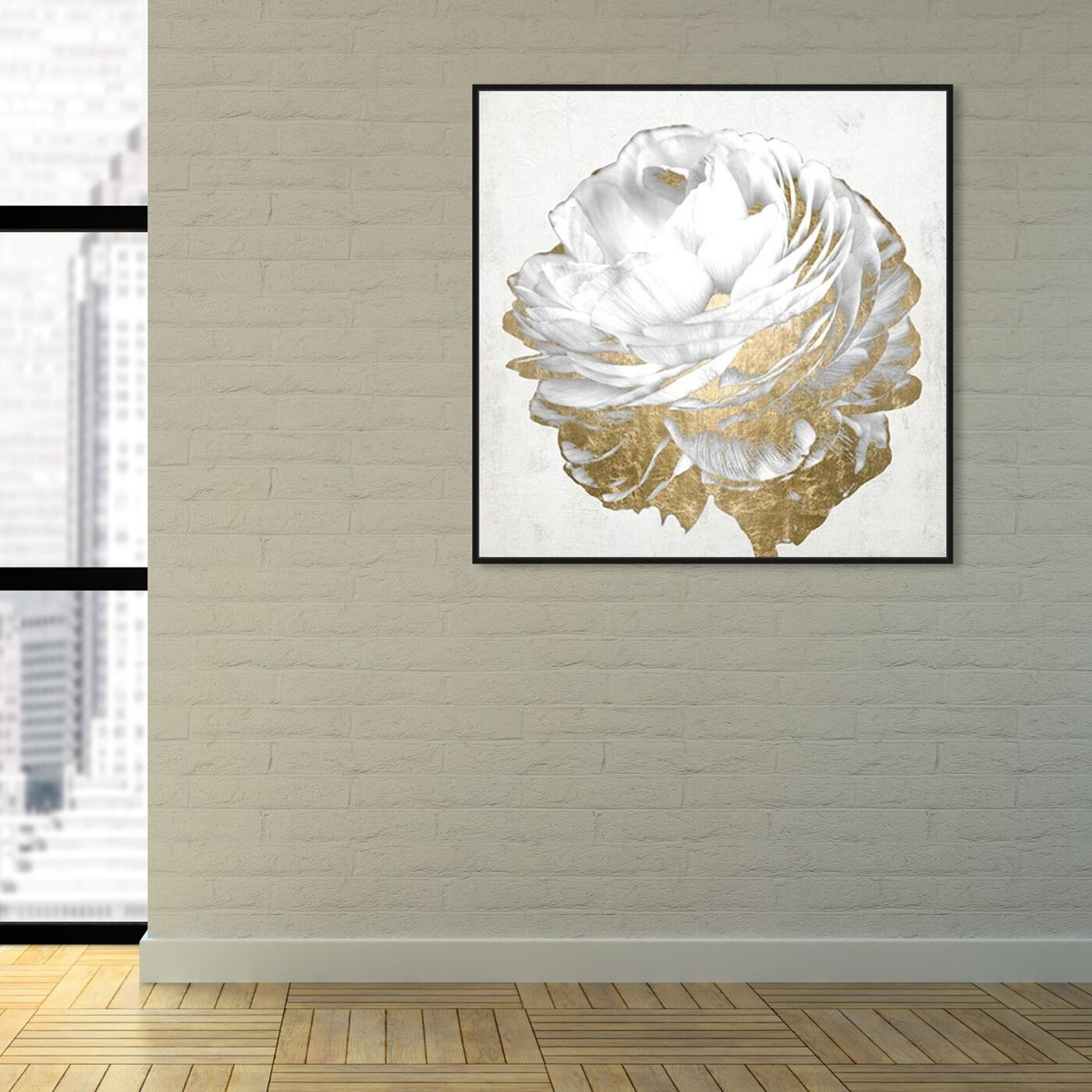 Hanging view of Gold and Light Floral White featuring floral and botanical and florals art.