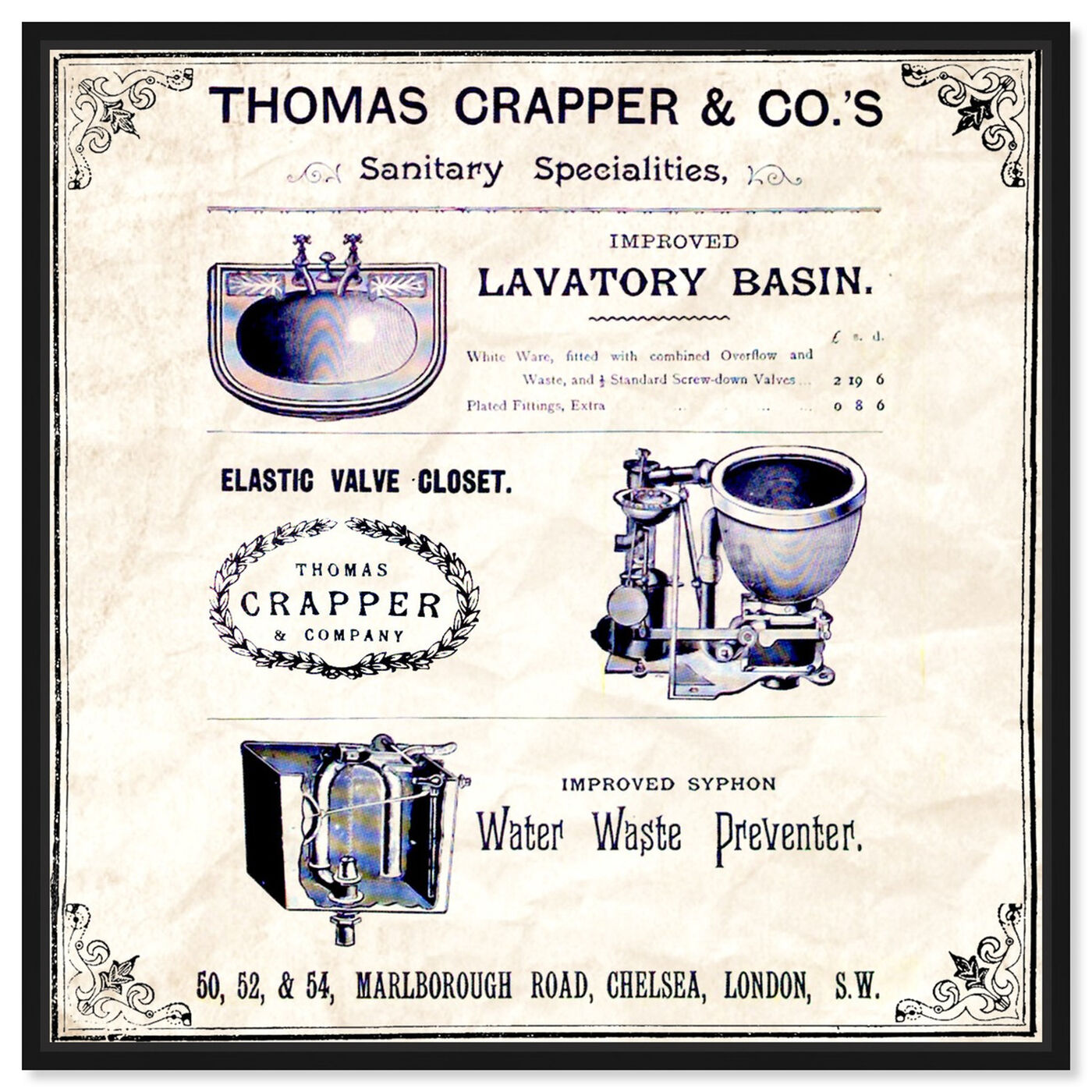 Front view of Thomas Crapper Inventor of the Toilet featuring bath and laundry and toilets art.