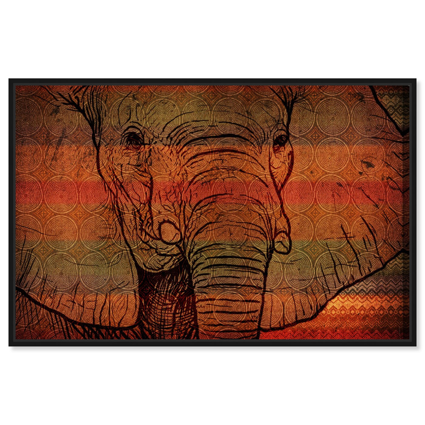 Front view of The Desert Elephant of Mali featuring animals and zoo and wild animals art.