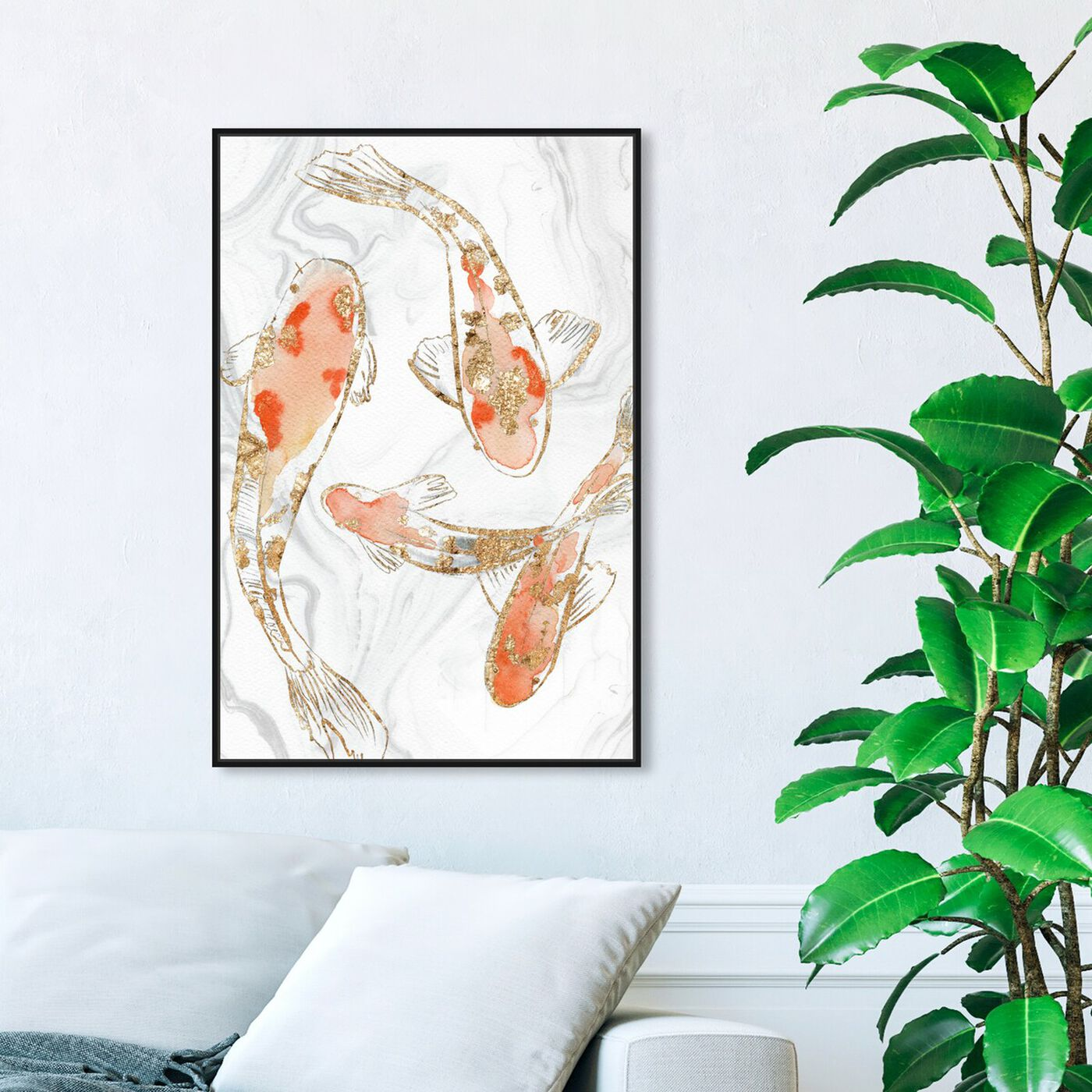 Hanging view of Koi Pond Marble featuring animals and sea animals art.