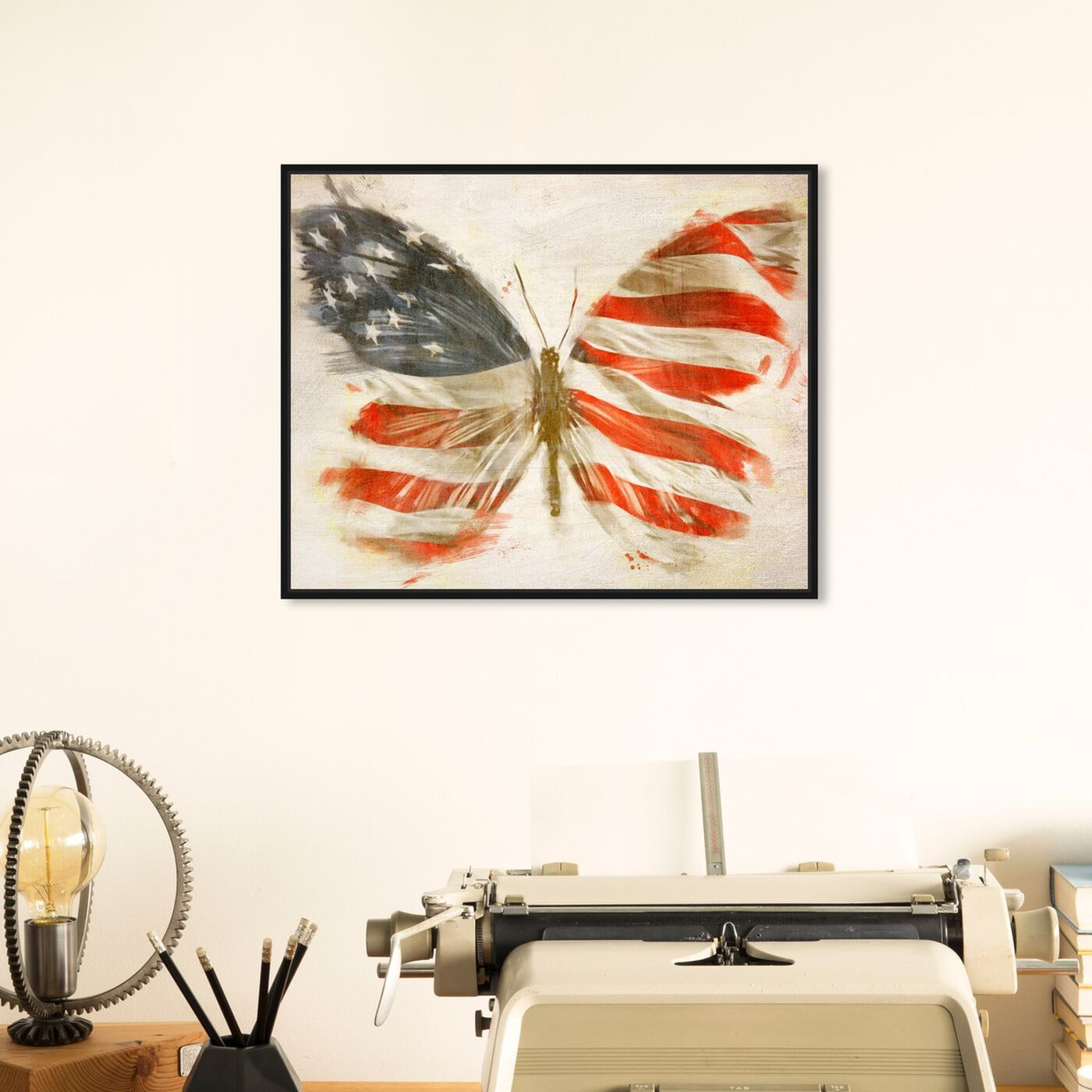 Hanging view of American Butterfly featuring maps and flags and american countries flags art.