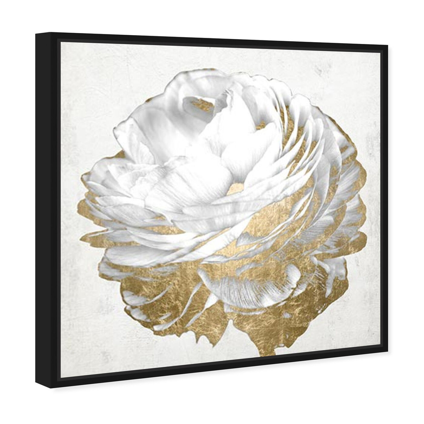 Angled view of Gold and Light Floral White featuring floral and botanical and florals art.
