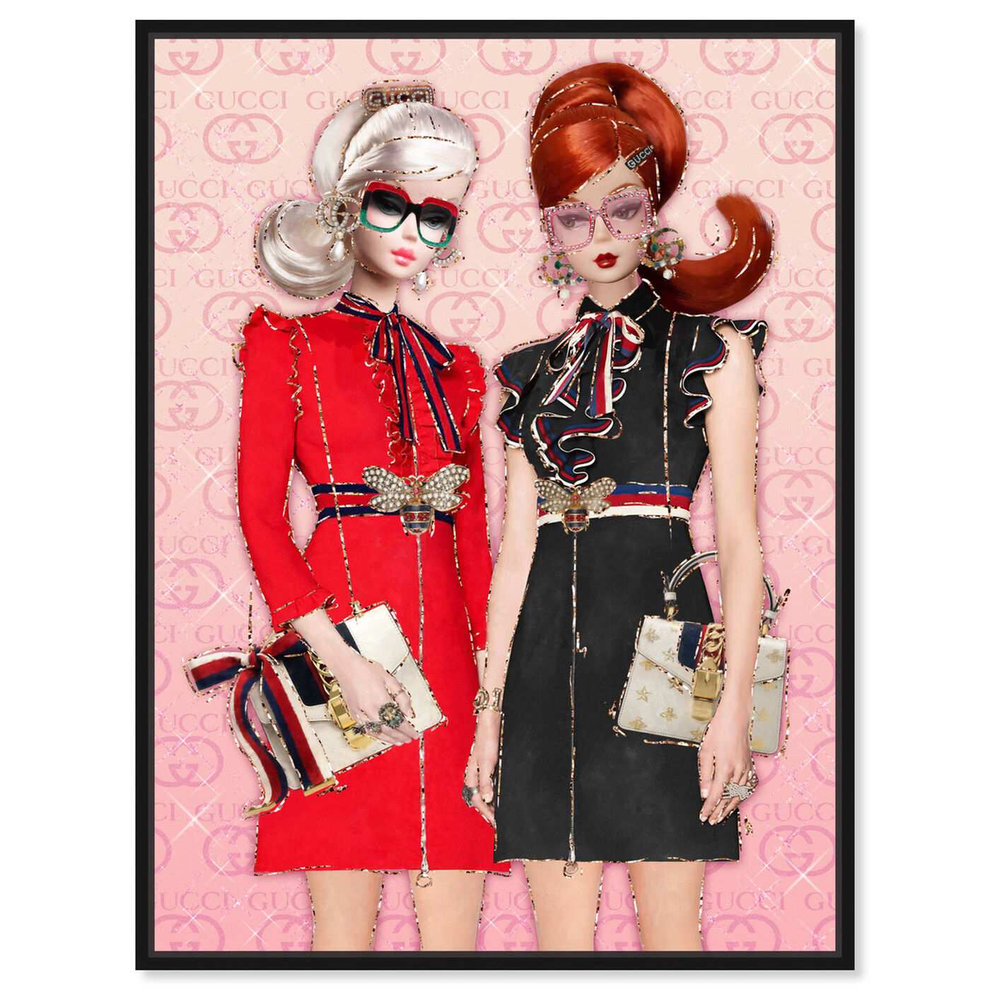 Front view of BFFs On A Spree featuring fashion and glam and dolls art.