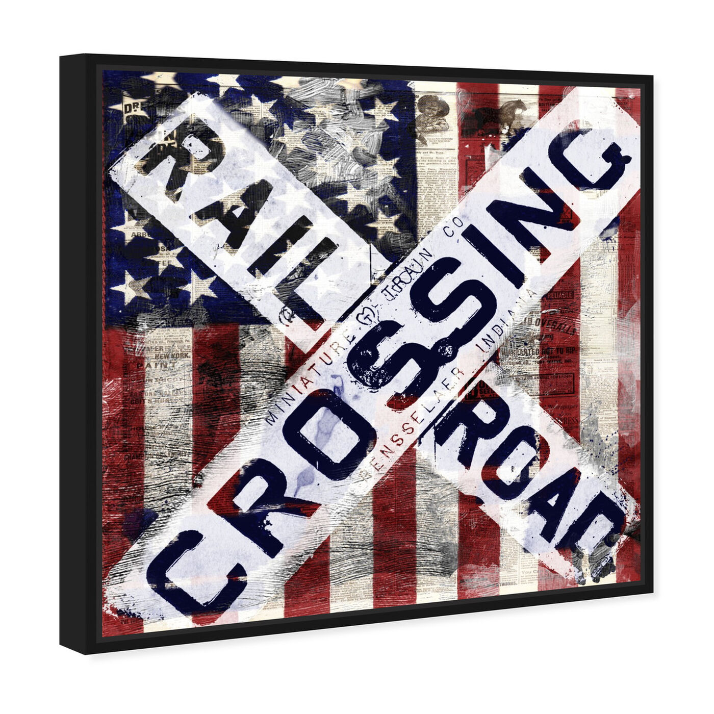 Angled view of Railroad Crossing featuring americana and patriotic and us flags art.