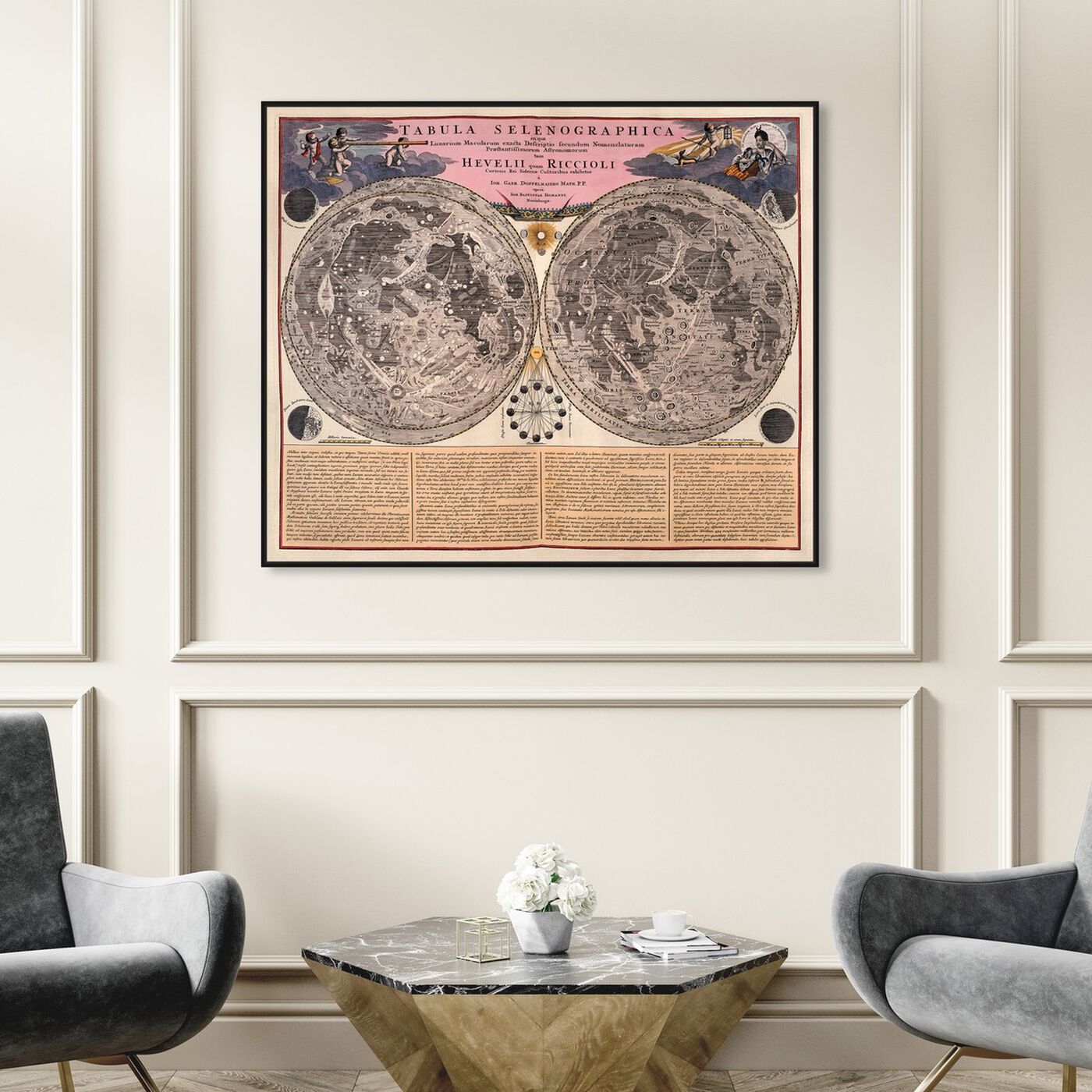 Hanging view of Tabula Selenographica featuring maps and flags and world maps art.