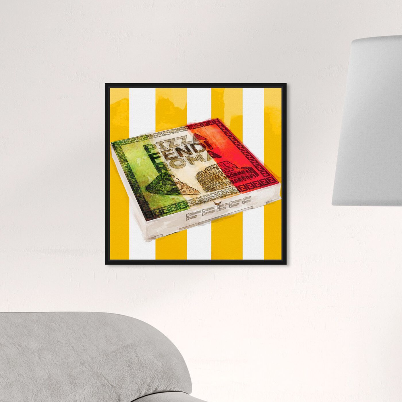 Hanging view of Italian Pizza Box  featuring food and cuisine and fast food art.