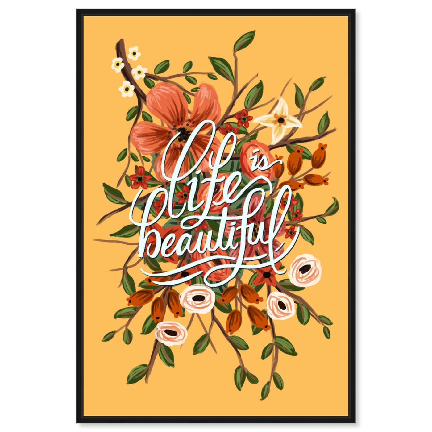 Front view of Yellow Beautiful featuring typography and quotes and inspirational quotes and sayings art.
