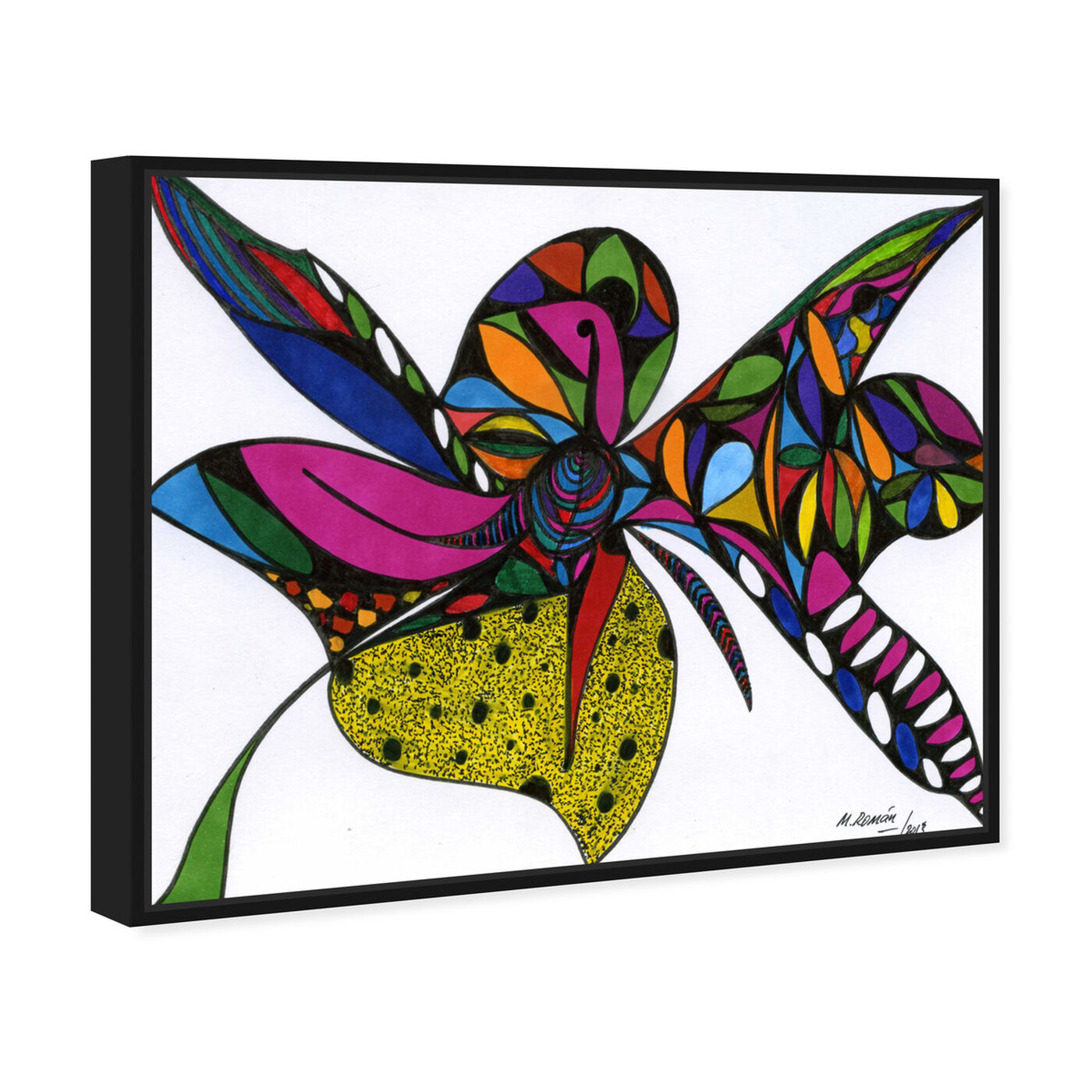 Angled view of Wild Orchid featuring abstract and shapes art.