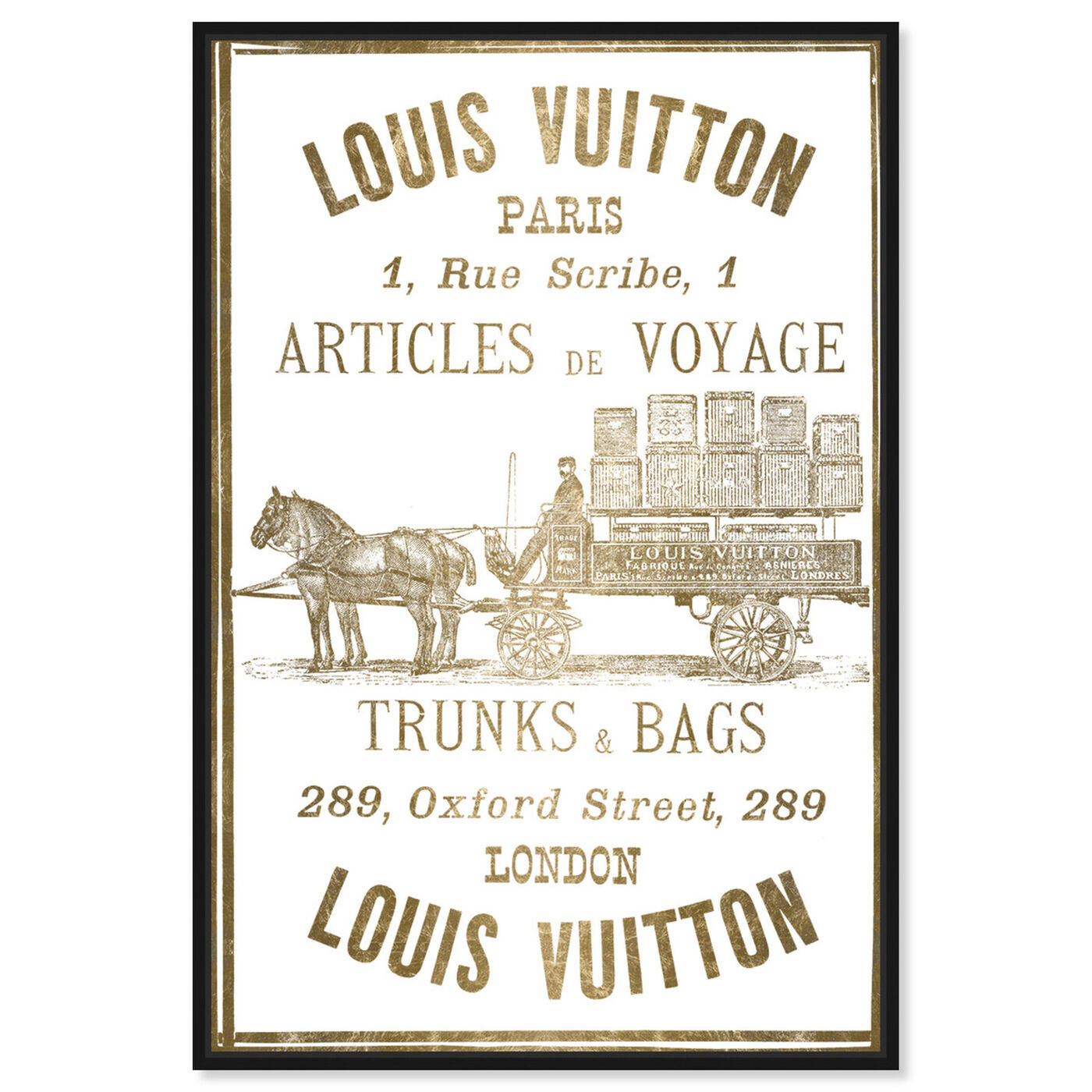 Front view of Articles de Voyage in Gold featuring fashion and glam and road signs art.