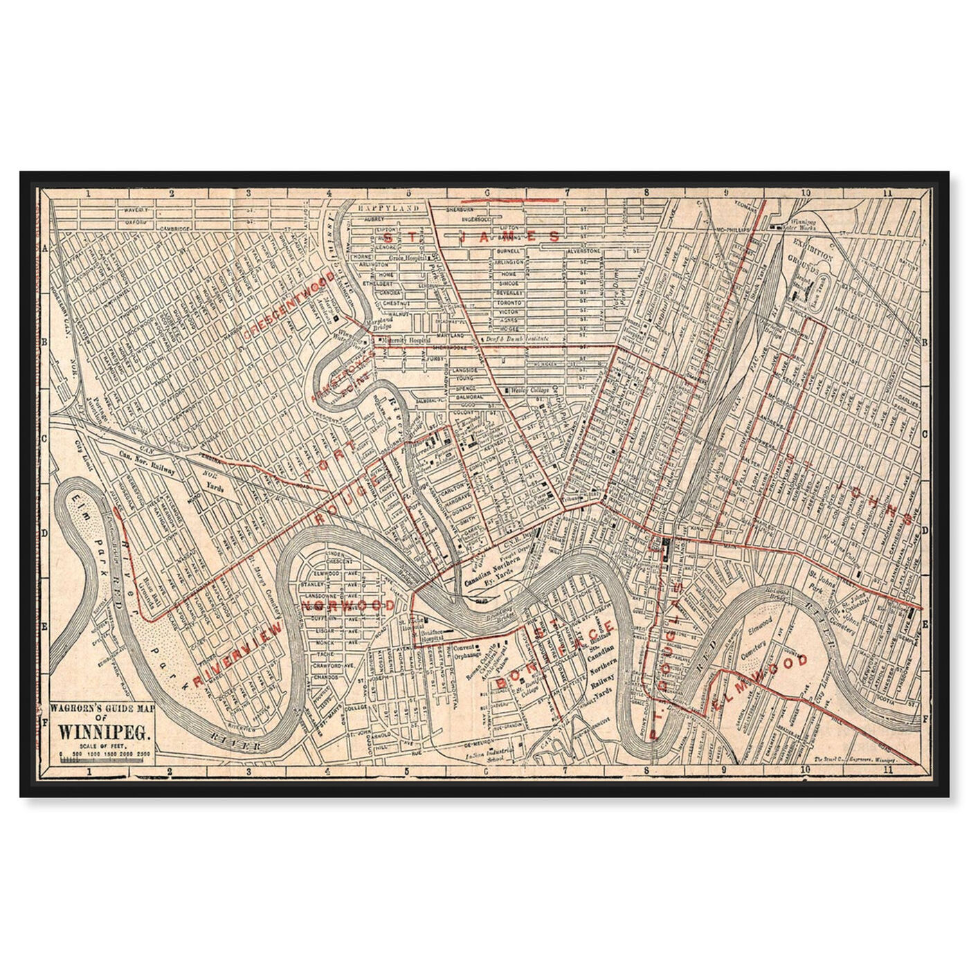 Front view of Winnipeg Street Map 1911 featuring cities and skylines and north american cities art.