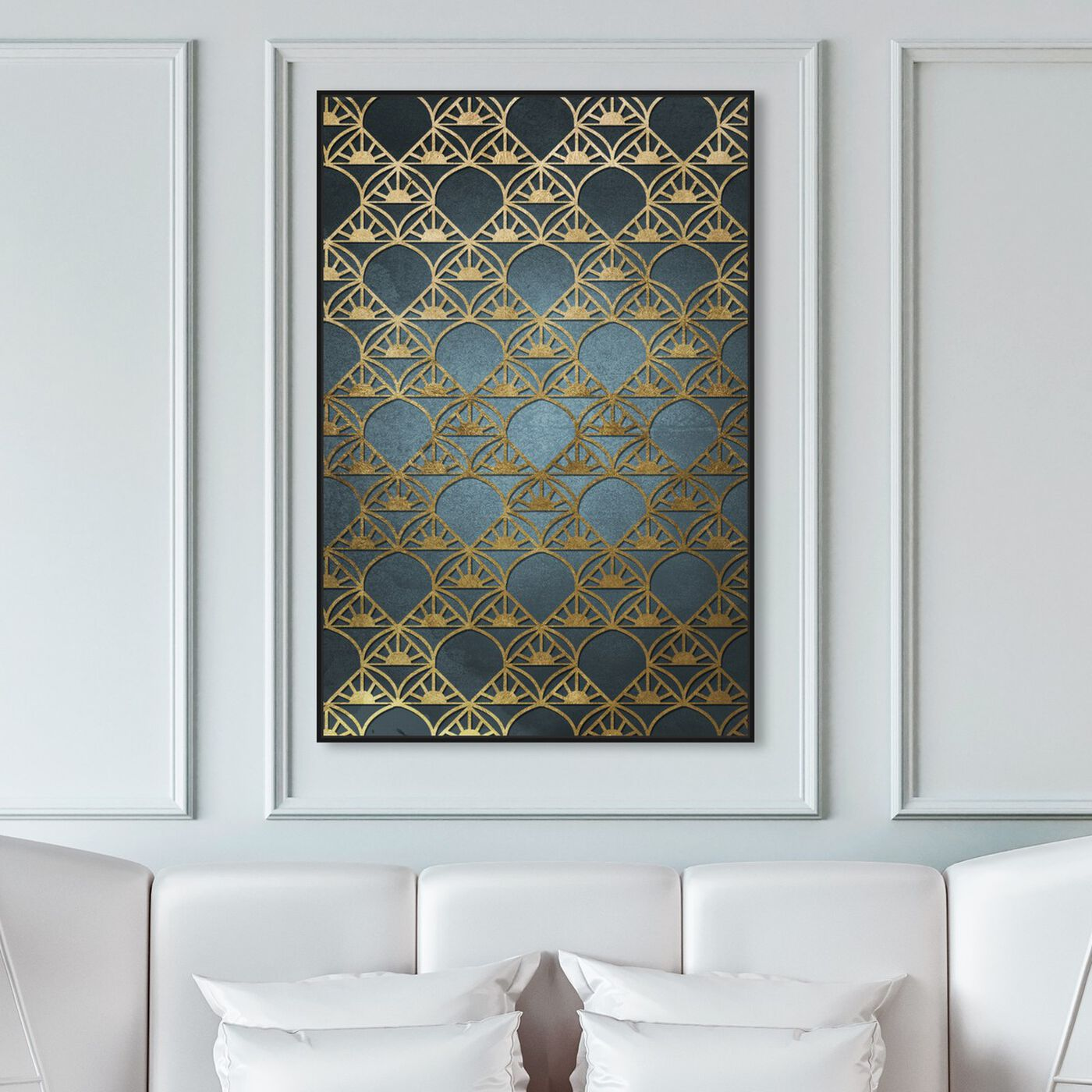 Hanging view of Gold Deco featuring abstract and patterns art.