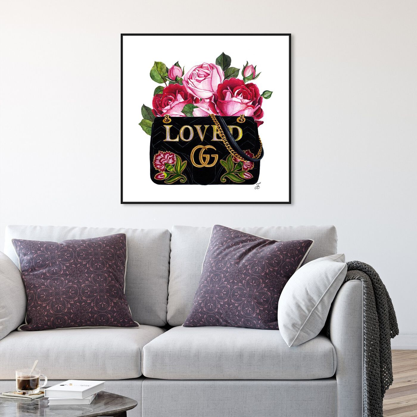 Hanging view of Doll Memories - Roses and Fashion featuring fashion and glam and handbags art.