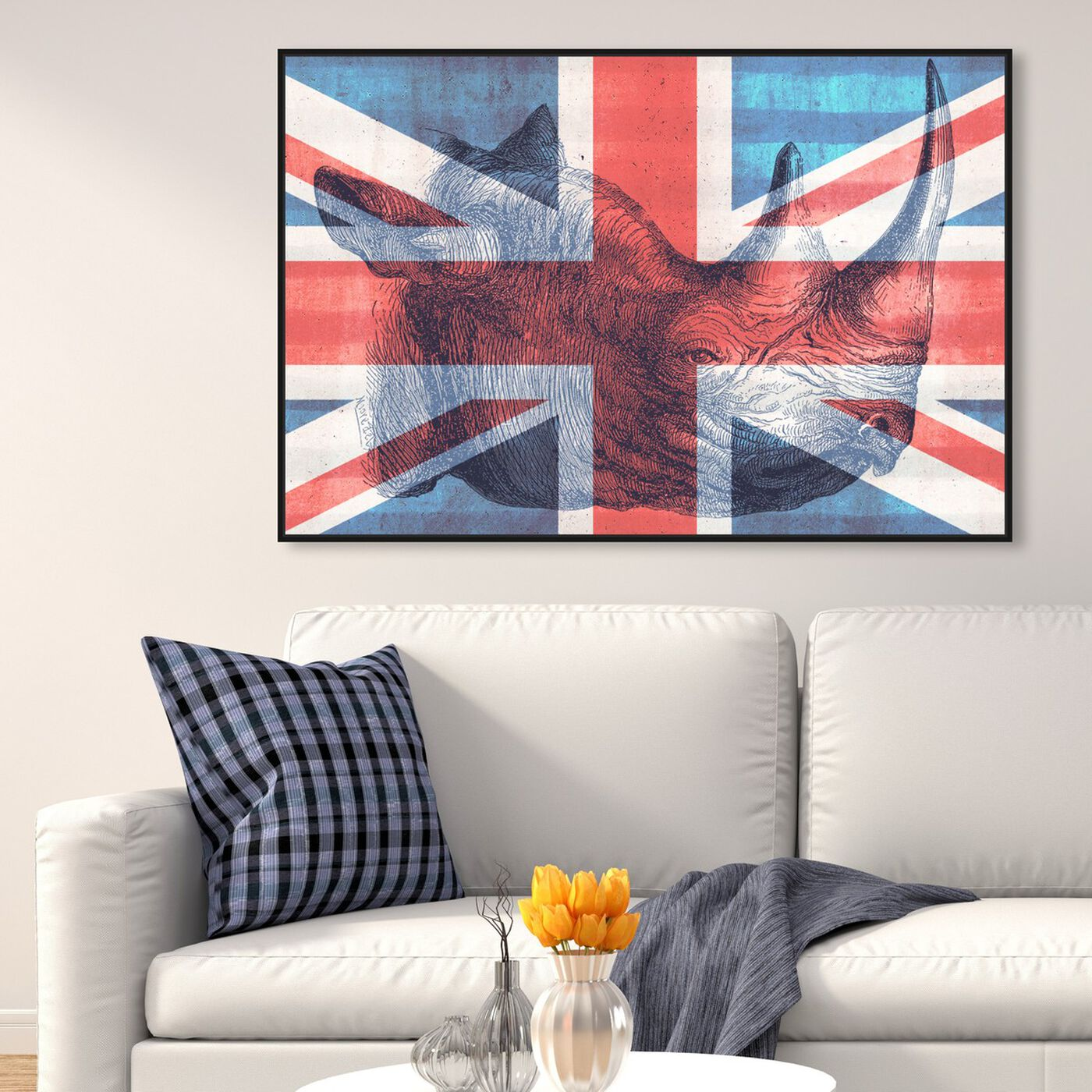 Hanging view of Brit Rhino II featuring maps and flags and european cities flags art.