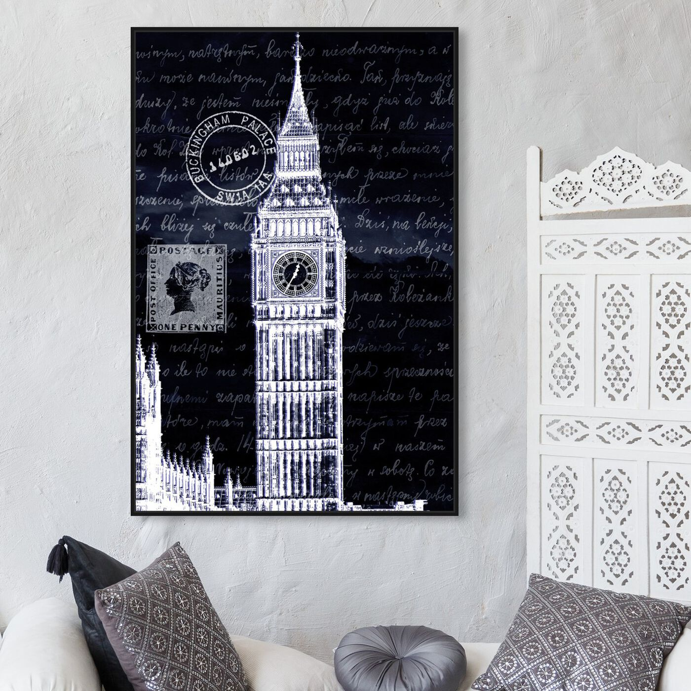 Hanging view of Letters to Big Ben Night featuring architecture and buildings and european buildings art.