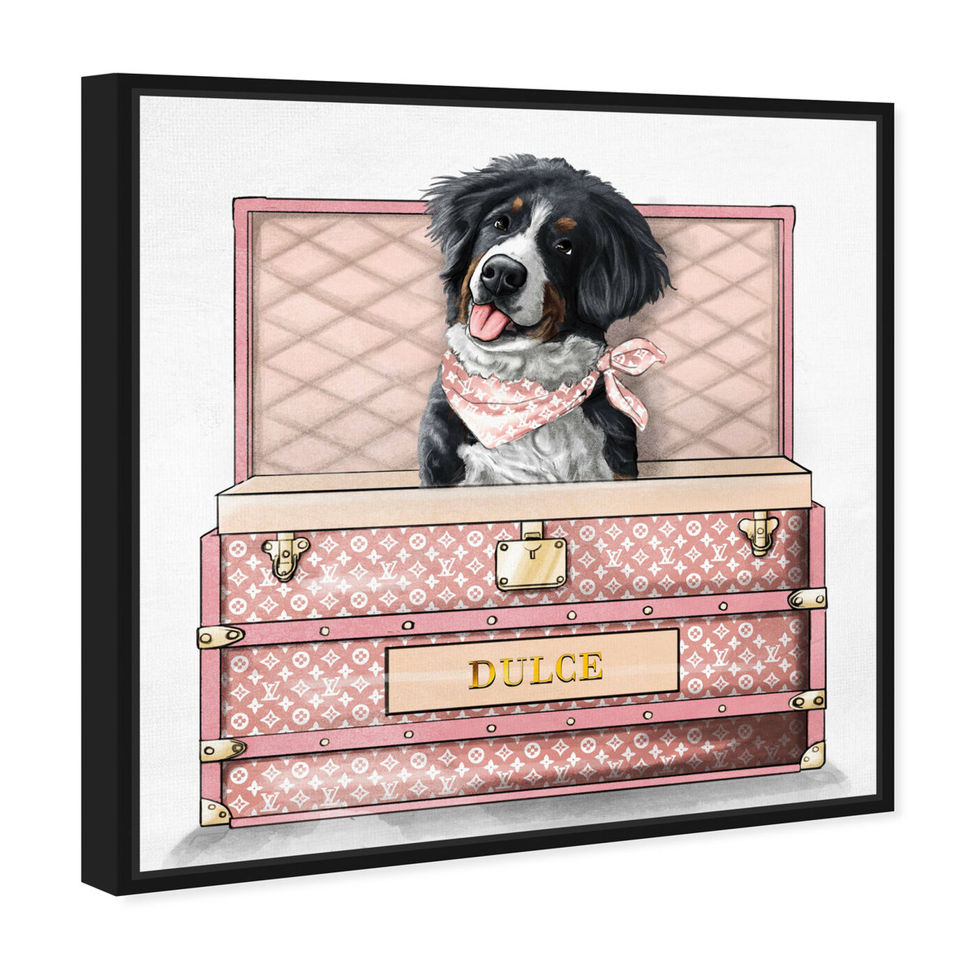 Angled view of Pink Luxury Trunk featuring animals and dogs and puppies art.