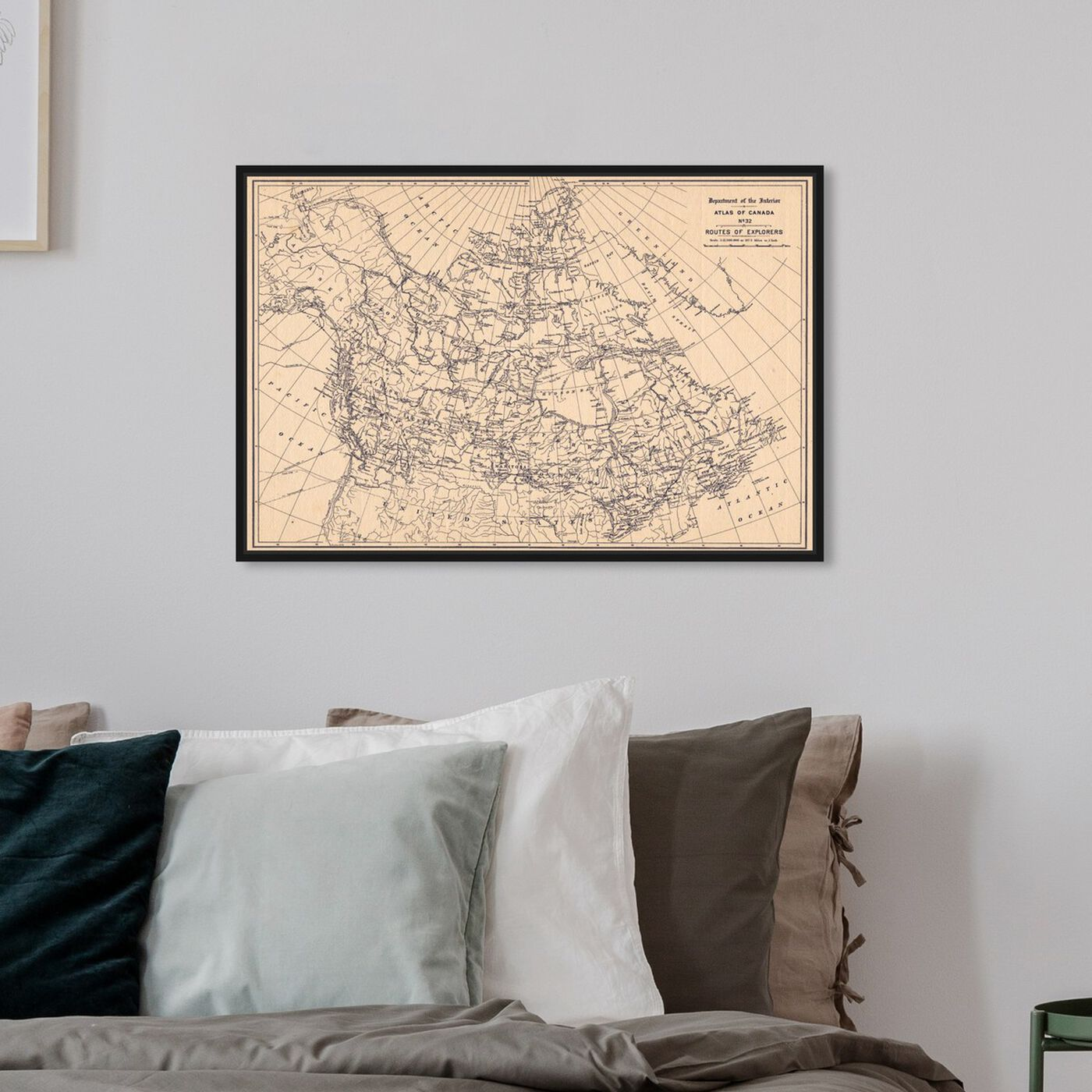 Hanging view of Atlas of Canada Routes of Explorers featuring maps and flags and american countries maps art.