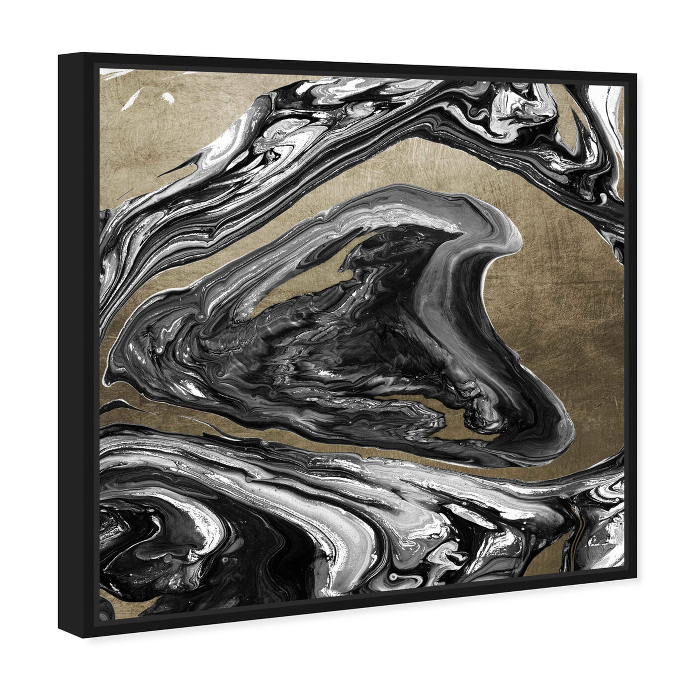 Angled view of Agate Ultimate Luxe Champagne featuring abstract and crystals art.